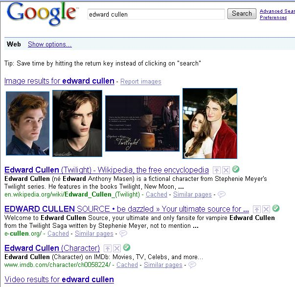 google search for edward cullen