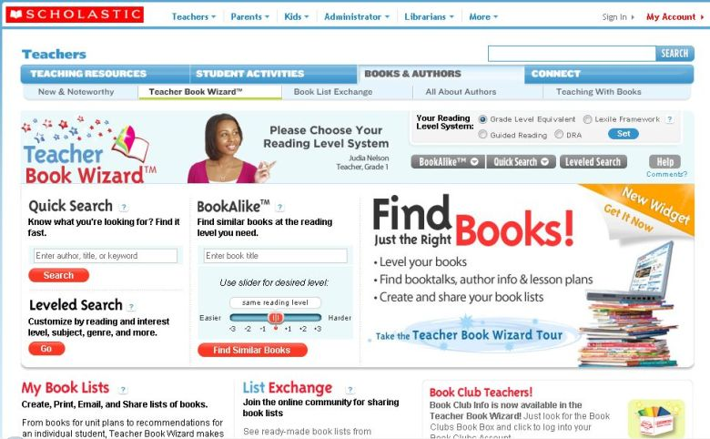teacher book wizard screen capture