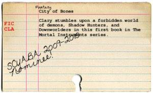 City of Bones catalog card