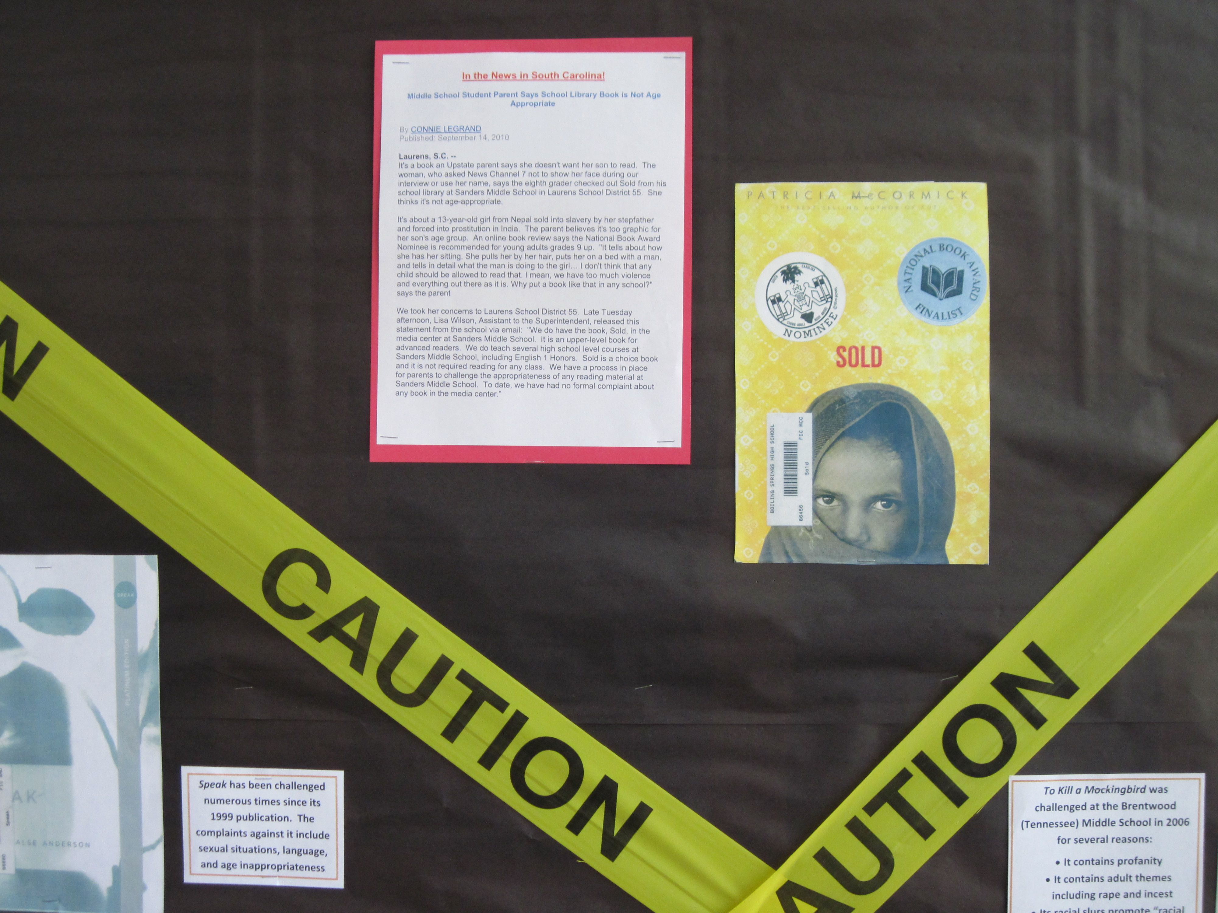 Last year, my BBW bulletin board featured the book Sold by Patricia ...
